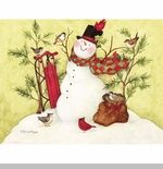 "Lang Boxed Christmas Cards  - ""Snowman Sled"" - Artist Susan Winget"