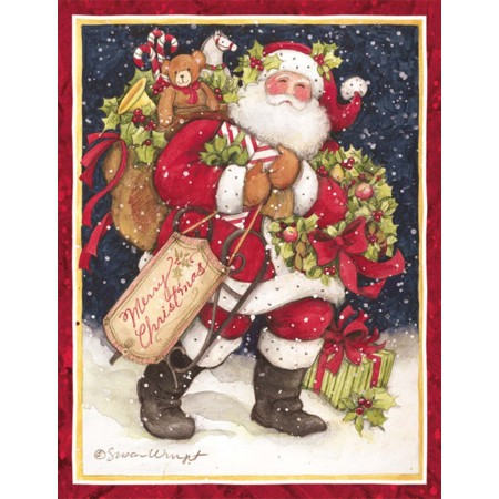 "Lang Boxed Christmas Cards  - ""Snowy Night Santa"" - Artist Susan Winget"