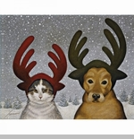 "Lang Boxed Christmas Cards - ""Squeeky Ashby & Lucy Zirbel"" - Artist Lowell Herrero"