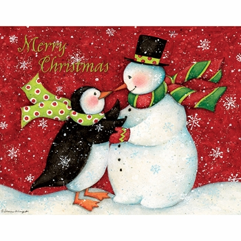 """Lang Boxed Christmas Cards - """"The Snowman Dance"""" - Artist Susan Winget"""