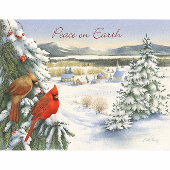 """Lang Boxed Christmas Cards - """"Watching Over The Village""""  -  Artist Catherine McClung"""