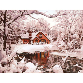 "Lang Boxed Christmas Cards - ""Winter Cottage"" -  Artist Eugene Lushpin"