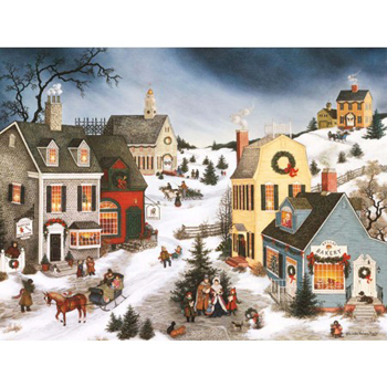 "Lang Boxed Religious Christmas Cards  - ""Caroling In The Village"" - Artist Linda Nelson Stocks"