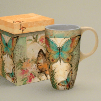 "Lang & Wise Latte  Mug - ""Butterfly Meadow"" - Artist Susan Winget"