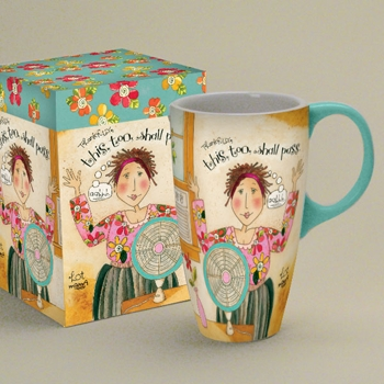 "Lang & Wise Latte Mug - ""Hot Mama"" - Artist Karen H Good -  ""Thankfully, This too shall pass"""