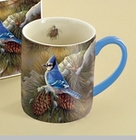 "Lang & Wise Mug - ""December Blue Jay"" - Artist Rosemary Millette"