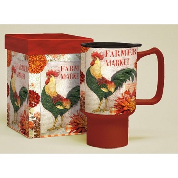 "Lang & Wise Travel Mug - ""Farmers Market"" - Artist Kimberly Poloson"