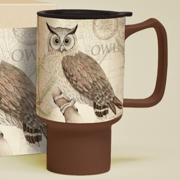 "Lang & Wise Travel Mug - ""Owl Sanctuary"" - Artist Susan Winget"