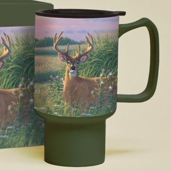 "Lang & Wise Travel Mug - ""Red Velvet Deer"" - Artist Michael Sieve"