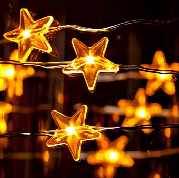 LED Wire Star Shaped String Lights - Warm White LED - Battery/Silver Wire