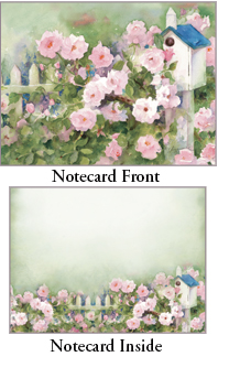 "Legacy Boxed Notecards - ""Roses & Birdhouses"""