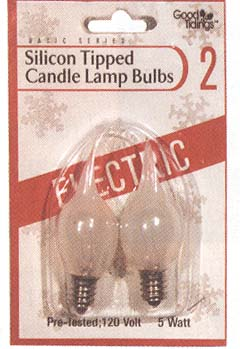 """Light Bulb - """"Silicon Tipped Candle Lamp Bulbs"""" - Pack of 2"""