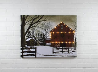 "Lighted Canvas Pictures - ""Christmas Barn"""