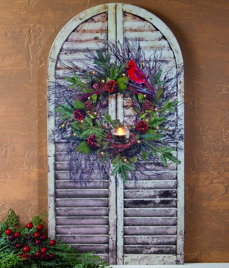 "Lighted Canvas Pictures - ""Christmas Wreath"""