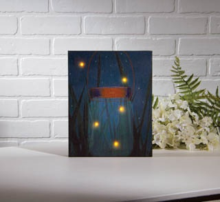 "Lighted Canvas Pictures - ""Firefly Jar"""
