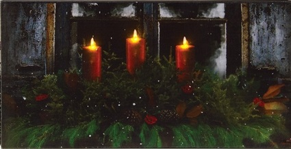 "Lighted Canvas Pictures - ""Pine Window Box"""