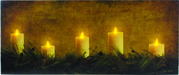 "Lighted Canvas Pictures - ""Pines And Candles"""