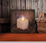 "Lighted Canvas Pictures - ""Rosehips Lighted Candle"""