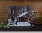 "Lighted Canvas Pictures - ""Snow Capped Cabin"""