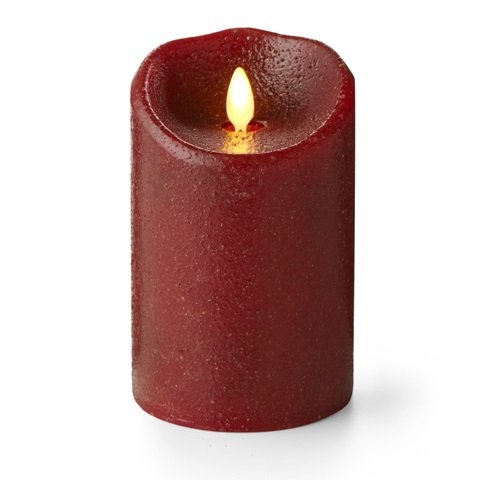 "Luminara� Flameless Candle - Battery Operated 3"" x 5""  Country Red Candle"""