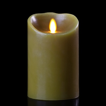 "Luminara� Flameless Candle - Battery Operated 3"" x 5"" Sage Candle"""
