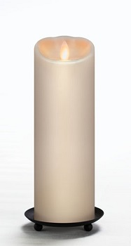 "Mirage Flameless Candle - Battery Operated 9"" x 3"" Cream"