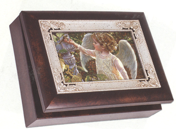 "Music Box - ""Angel""  - Italian Style - Woodgrain Finish With Silver Inlay"""