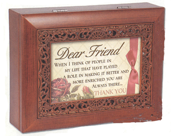 "Music Box - ""Dear Friend in Ornate Woodgrain Finish"""