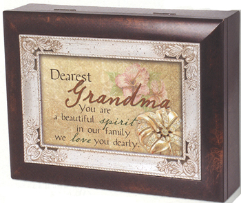"Music Box - ""Grandma""  - Italian Style - Woodgrain Finish With Silver Inlay"