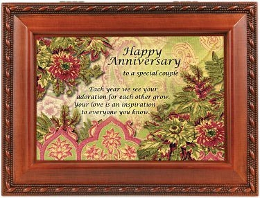 "Music Box - ""Happy Anniversary Print with Woodgrain Finish"""