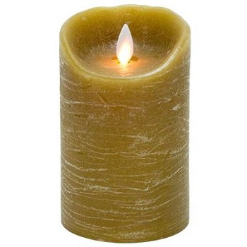 """Mystique Flameless Candle - Battery Operated 3.25"""" x 5""""Taupe"""
