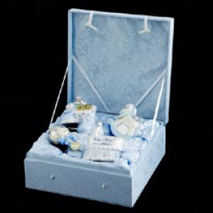 "Newborn Ornaments - ""Noble Gems Glass Baby Boy Ornament  Gift Set"""
