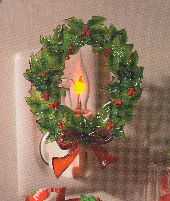 "Night Light  - ""Holly Wreath with Flicker Light Night Light"""