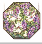 "Octagon Suncatcher - ""Hummingbirds And Wisteria Window Panel"""