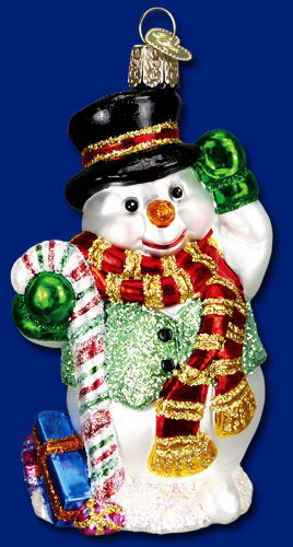 "Old World Christmas Glass Ornament - ""Candy Cane Snowman"""