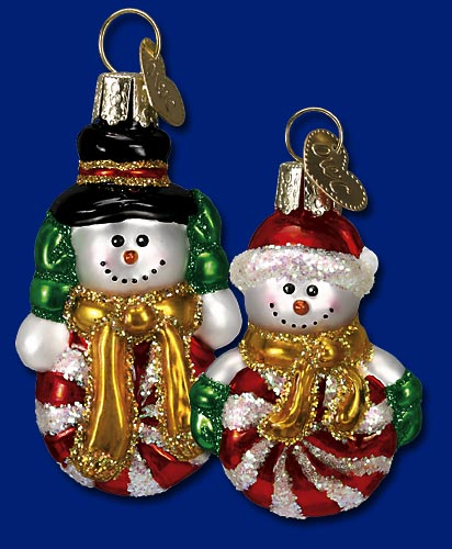 "Old World Christmas Glass Ornament - ""Dandy Candy Snowman"""