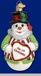 "Old World Christmas Glass Ornament - ""Glistening Romantic Snowman"" -  Our First Christmas"