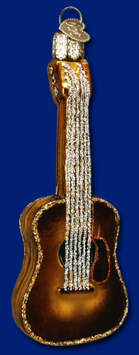 "Old World Christmas Glass Ornament  - ""Guitar"""