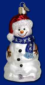 """Old World Christmas Glass Ornament  - """"Happy Snowman"""""""