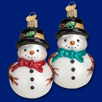 "Old World Christmas Glass Ornament - ""Holly Hat Snowman"""