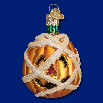 "Old World Christmas Glass Ornament - ""Mummy Pumpkin"""