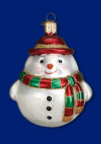 "Old World Christmas Glass Ornament - ""Round Snowman"""