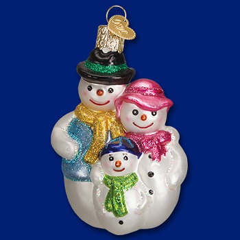 """Old World Christmas Glass Ornament - """"Snow Family"""""""