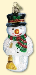 "Old World Christmas Glass Ornament - ""Snowman With Broom"""