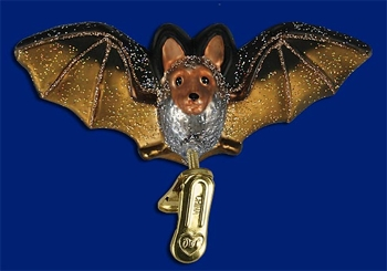 "Old World Christmas Glass Ornarment  - ""Clip-On Bat"""
