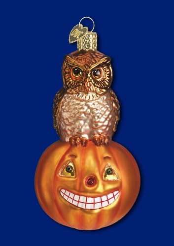 "Old World Christmas Glass Ornarment - ""Owl And Pumpkin"""