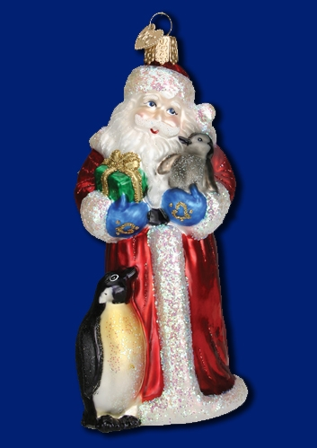 """Old World Christmas Glass Ornarment - """"Santa With Penguin Pals"""""""