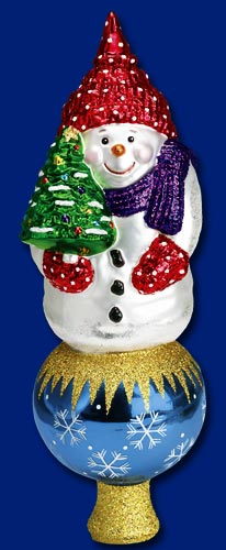 """Old World Christmas Glass Tree Topper - """"Snowman Topper"""""""