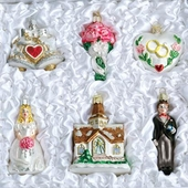 "Old World Glass Ornaments - ""Wedding Collection"""