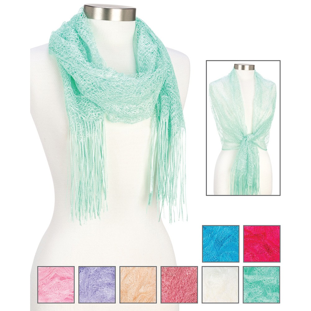 Open Weave Floral Mesh Scarf